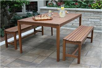 Outdoor Interiors 3Pc Eucalyptus Dining Set