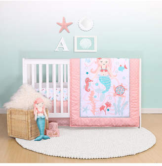 Belle Mermaid Kisses 4-Piece Crib Bedding Set Bedding