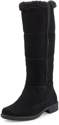 Taryn Rose Abbott Mid-Calf Boot with Fur Trim, Black $249 thestylecure.com