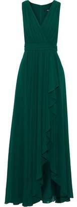 Badgley Mischka Wrap-Effect Draped Georgette Gown