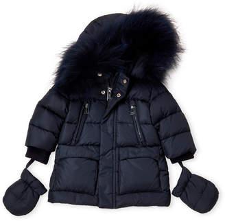 ADD Newborn Boys) Real Fur-Trimmed Down Jacket