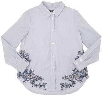 Ermanno Scervino Embroidered Stripe Stretch Poplin Shirt