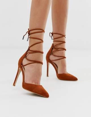 Public Desire Classy tan ankle tie heeled shoes