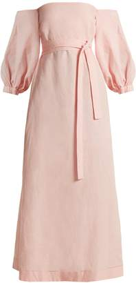 LISA MARIE FERNANDEZ Balloon-sleeve off-the-shoulder linen dress $695 thestylecure.com