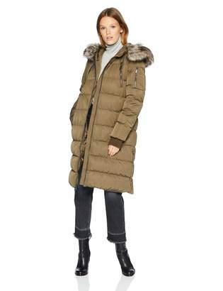 BCBGeneration Women's Duffle Coat with Faux Fur Hood, LG