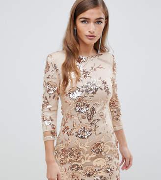 TFNC Petite floral sequin mini bodycon dress in rose gold