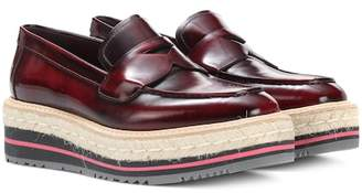 Prada Leather platform loafers