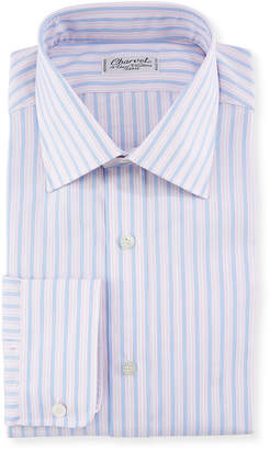 Charvet Men's Tricolor Stripe Dress Shirt