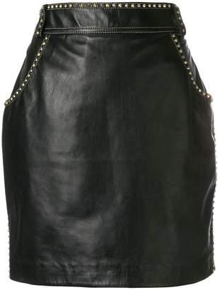 Versace studded leather skirt