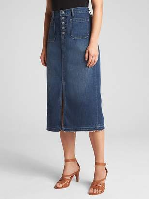 Gap Denim Pencil Skirt with Button-Fly
