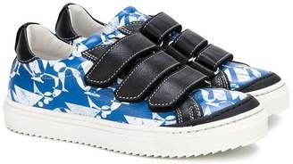 John Galliano printed touch strap sneakers