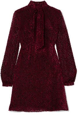 Saint Laurent Pussy-bow Devoré-chiffon Mini Dress - Burgundy