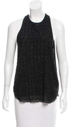 L'Agence Bead Embellished Silk Top