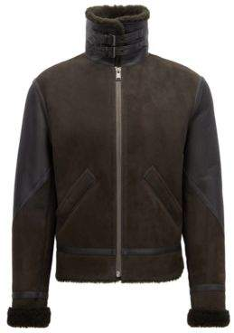 BOSS Hugo Biker jacket in lamb fur shearling inner 38R Open Green