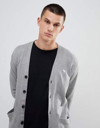 Abercrombie & Fitch icon logo knit cardigan in light grey marl