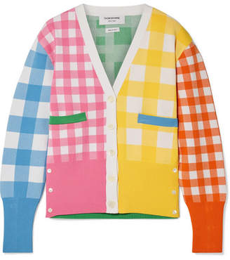 Thom Browne Paneled Gingham Knitted Cardigan - Yellow