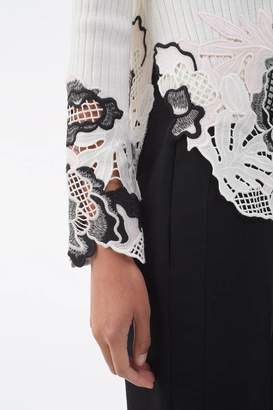 3.1 Phillip Lim Lace-Embellished Ribbed Top