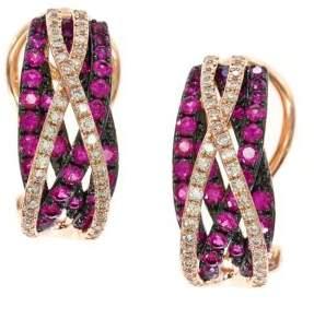 Effy Ruby, Diamond and 14K Rose Gold Earrings