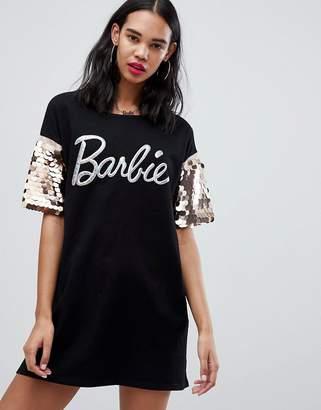 Missguided Barbie Glitter Logo Sequin Sleeve T-Shirt Dress