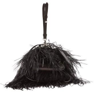 Marques Almeida Marques'almeida - Feather Embellished Leather Cross Body Bag - Womens - Black
