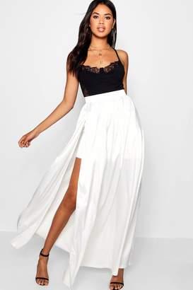 boohoo Side Split Satin Maxi Skirt