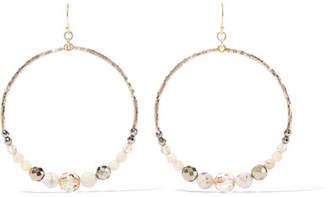 Chan Luu Multi Brioche Gold-tone, Bead And Crystal Hoop Earrings