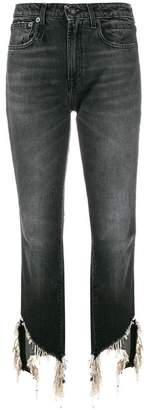 R 13 cropped distressed jeans