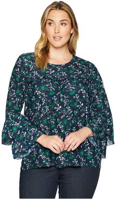 MICHAEL Michael Kors Size Fleur Print Tier Sleeve Top Women's Clothing