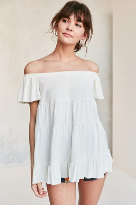 Kimchi Blue Eliza Ruffle Tiered Off-The-Shoulder Tee $49 thestylecure.com