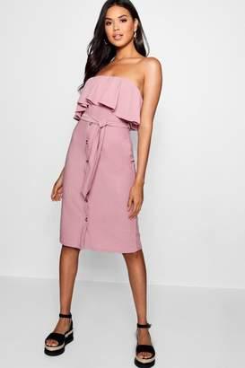 boohoo Bandeau Ruffle Tie Waist Midi Dress