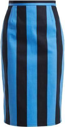 Prada High-rise striped denim pencil skirt