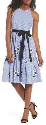 Eliza J Embroidered Stripe Fit & Flare Dress (Regular & Petite)