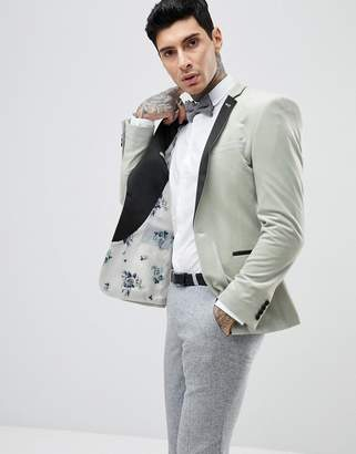 Asos DESIGN Wedding Super Skinny Blazer In Sage Green Velvet