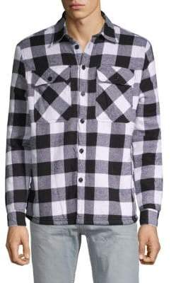 Checked Faux Shearling-Lined Cotton Jacket
