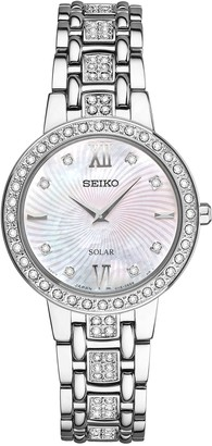 Seiko Women's Crystal Stainless Steel Solar Watch - SUP359