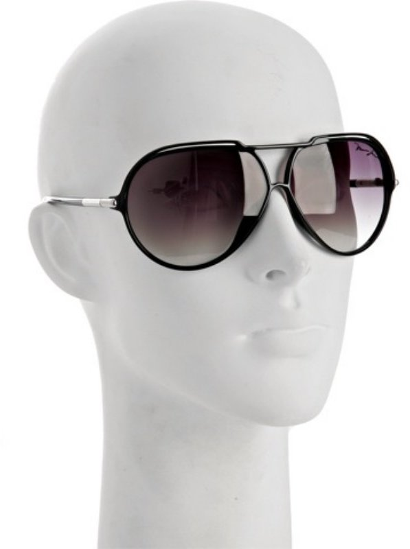 Marc Jacobs black plastic thin aviator sunglasses