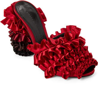 Marco De Vincenzo Red Ombre Layered Ruffle Satin Mule Pumps