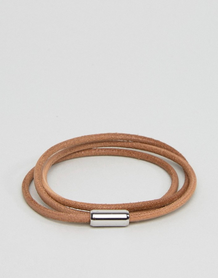 Hugo Boss BOSS by Hugo Boss Leather Wrap Bracelet In Tan