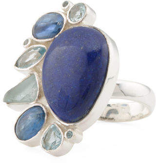 Made In India Sterling Silver Lapis Multi Stone Ring
