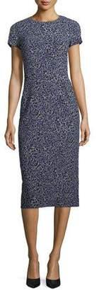 Michael Kors Floral-Print Cap-Sleeve Stretch-Cady Midi Sheath Dress