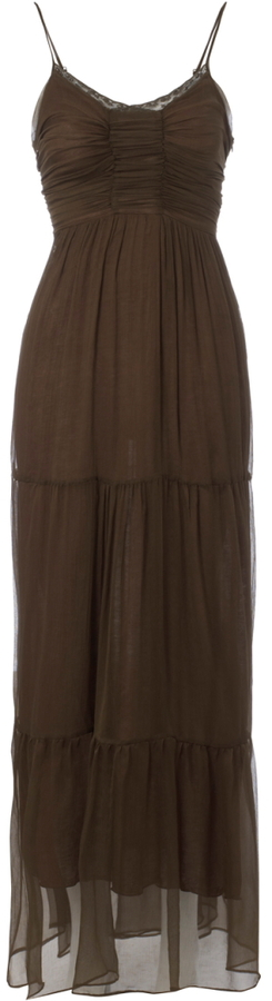 Womens Brown Kookai Sheer Silk Rouched Bodice Tiered Long Maxi Dress Size 6-16