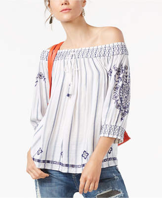 Inc International Concepts Off-The-Shoulder Striped Top, Only at Macy's $89.50 thestylecure.com