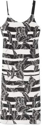 Vince Camuto Tropical-print Striped Slip Dress