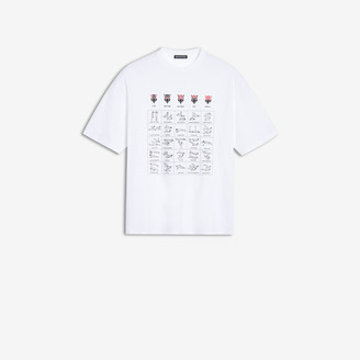 Balenciaga Workout T-shirt in off-white printed light jersey