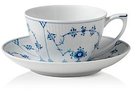 Blue Fluted Plain Tea Cup & Saucer