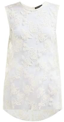 Ann Demeulemeester Rose Embroidered Tulle Top - Womens - White
