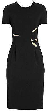 Versace Women's Safety Pin Cap Sleeve Sheath