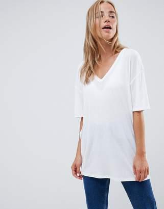 Asos DESIGN oversized v-neck t-shirt in lightweight rib in white