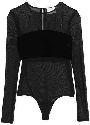 Cinq à Sept Velvet-Paneled Mesh Bodysuit