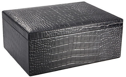 Gump's Graphic Image Croc Embossed Leather Desk Box, Large